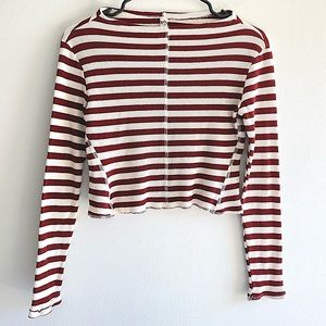 FREE PEOPLE intimately red white striped crop top
